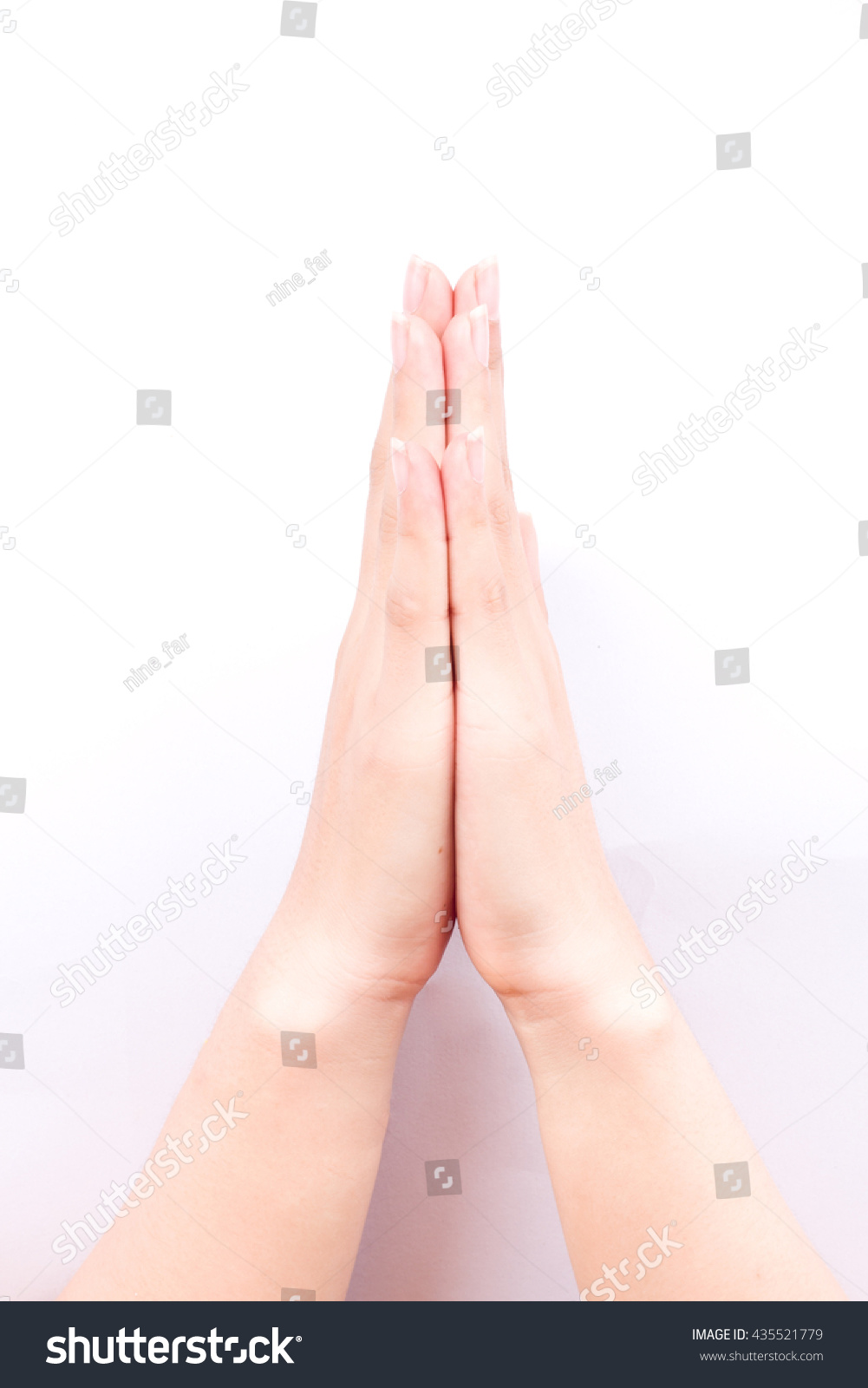 Finger hand girl symbols isolated concept stock photo 435521779 finger hand girl symbols isolated concept wai is the traditional thai greeting on white background kristyandbryce Images