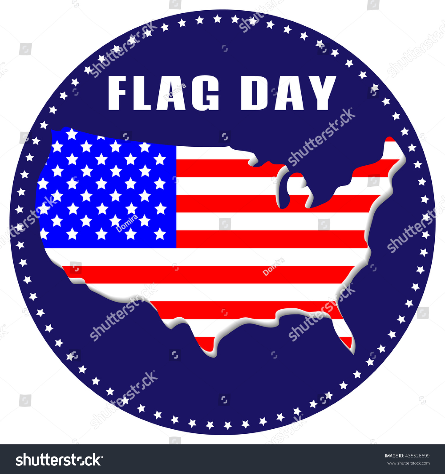 Usa Flag Day Greeting Card Icon Usa Flag In The Form Of A Map