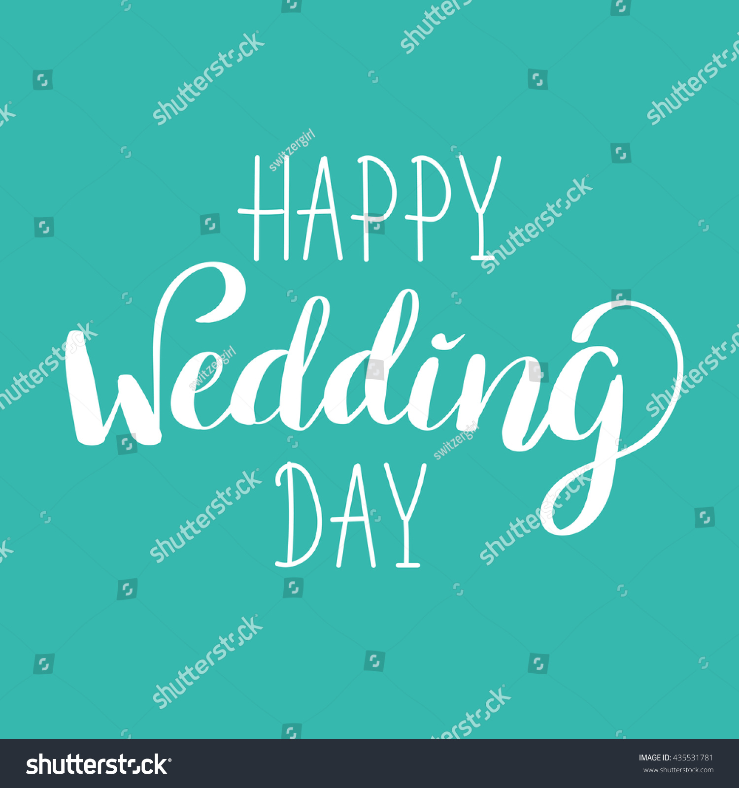 Happy Wedding Day Handlettered Sign Calligraphy Stock Vector
