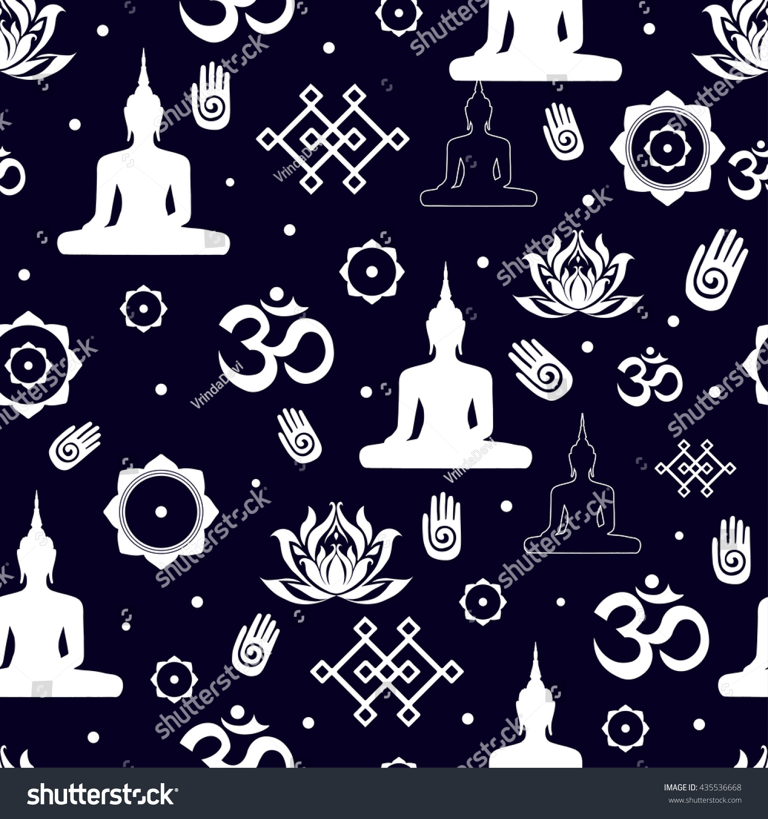 Vector set buddhist religious sacred symbols stock vector vector set of buddhist religious sacred symbols in seamless pattern illustration with flat lay oriental buycottarizona Gallery