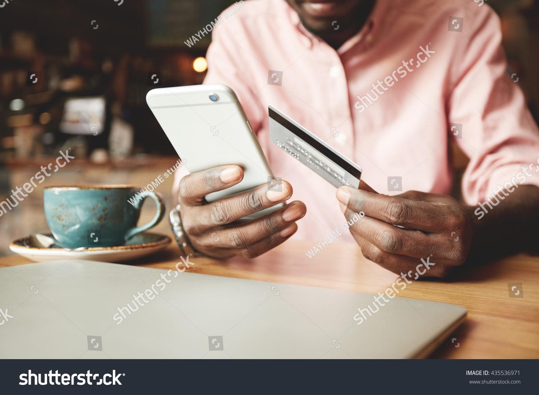 African American Man Casual Shirt Paying Stock Photo 435536971 ...
