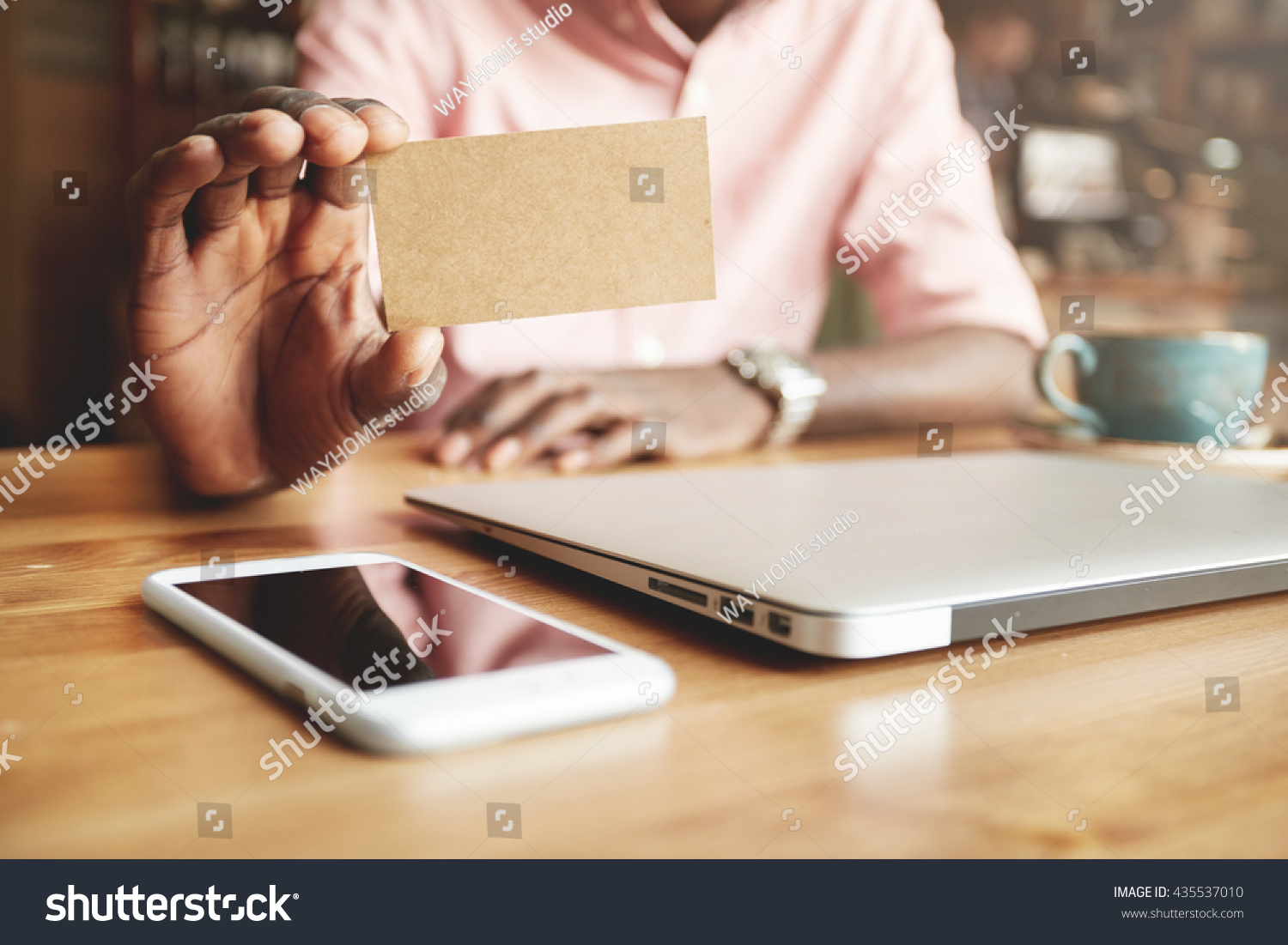 Close Black Male Hands Holding Blank Stock Photo 435537010 ...
