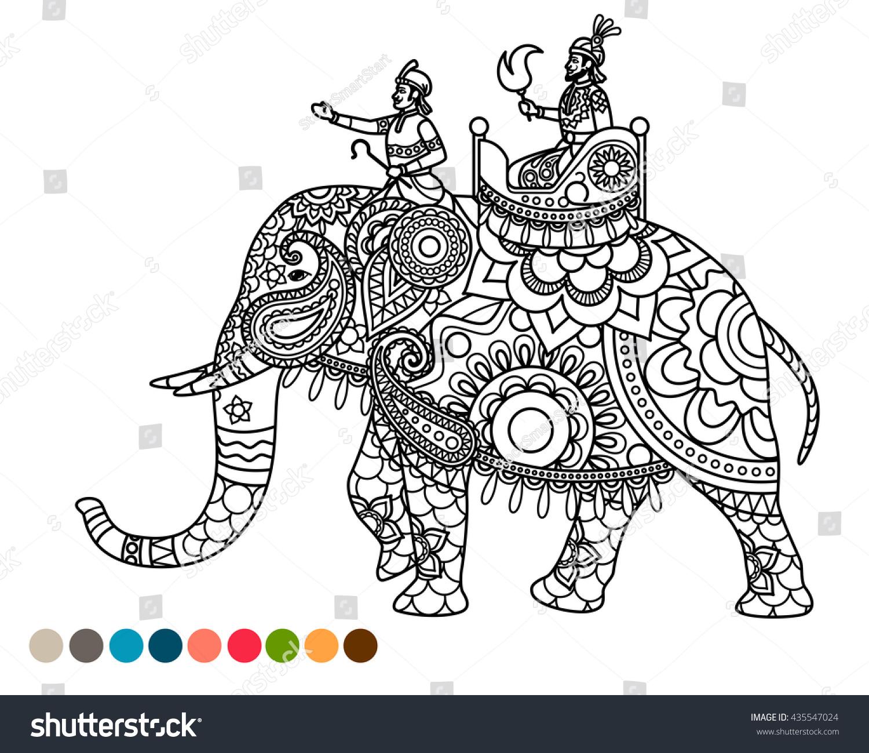 antistress coloring page indian maharaja sitting stock vector