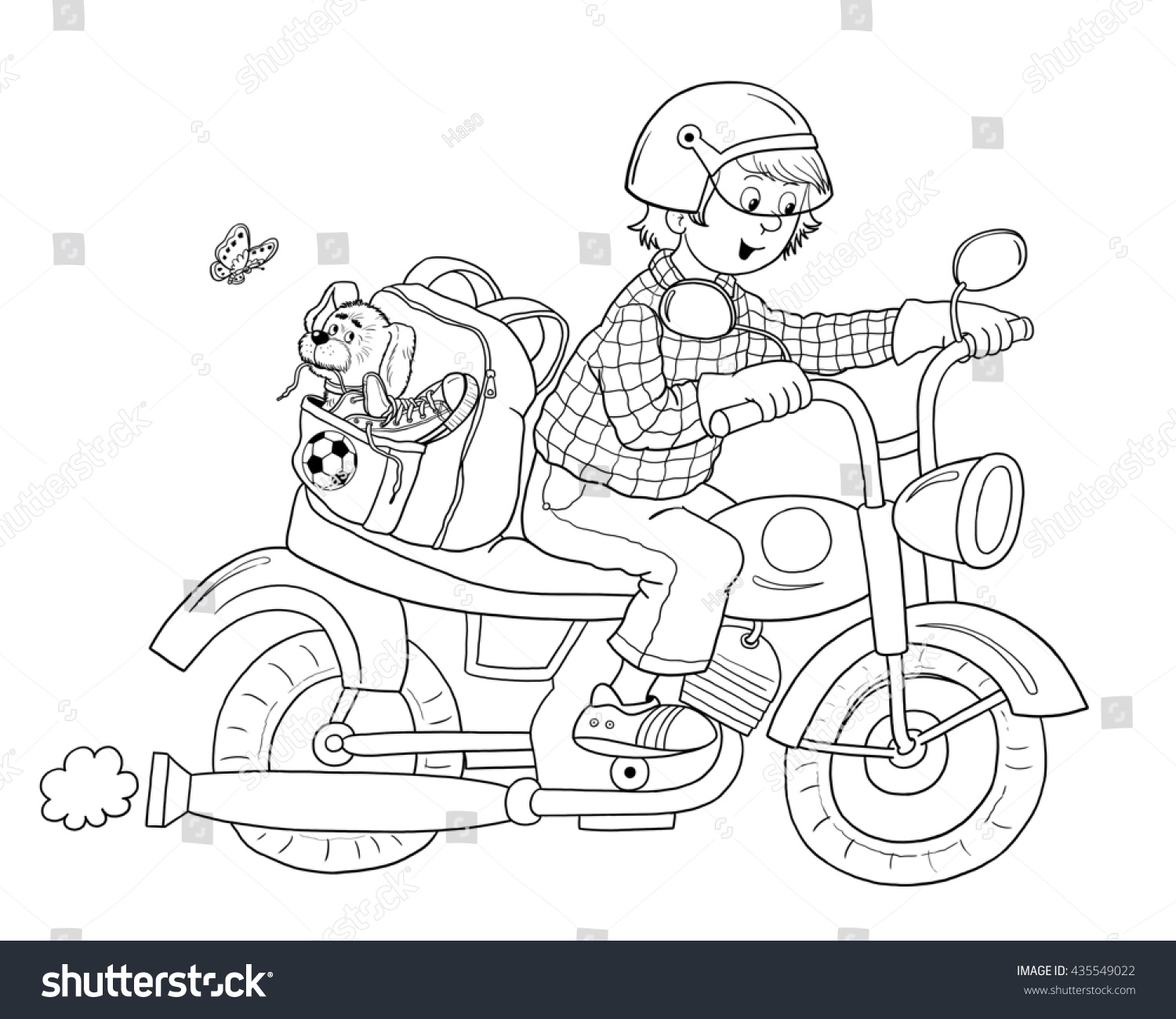 Traffic Cute Young Man Motorcycle Stock Illustration