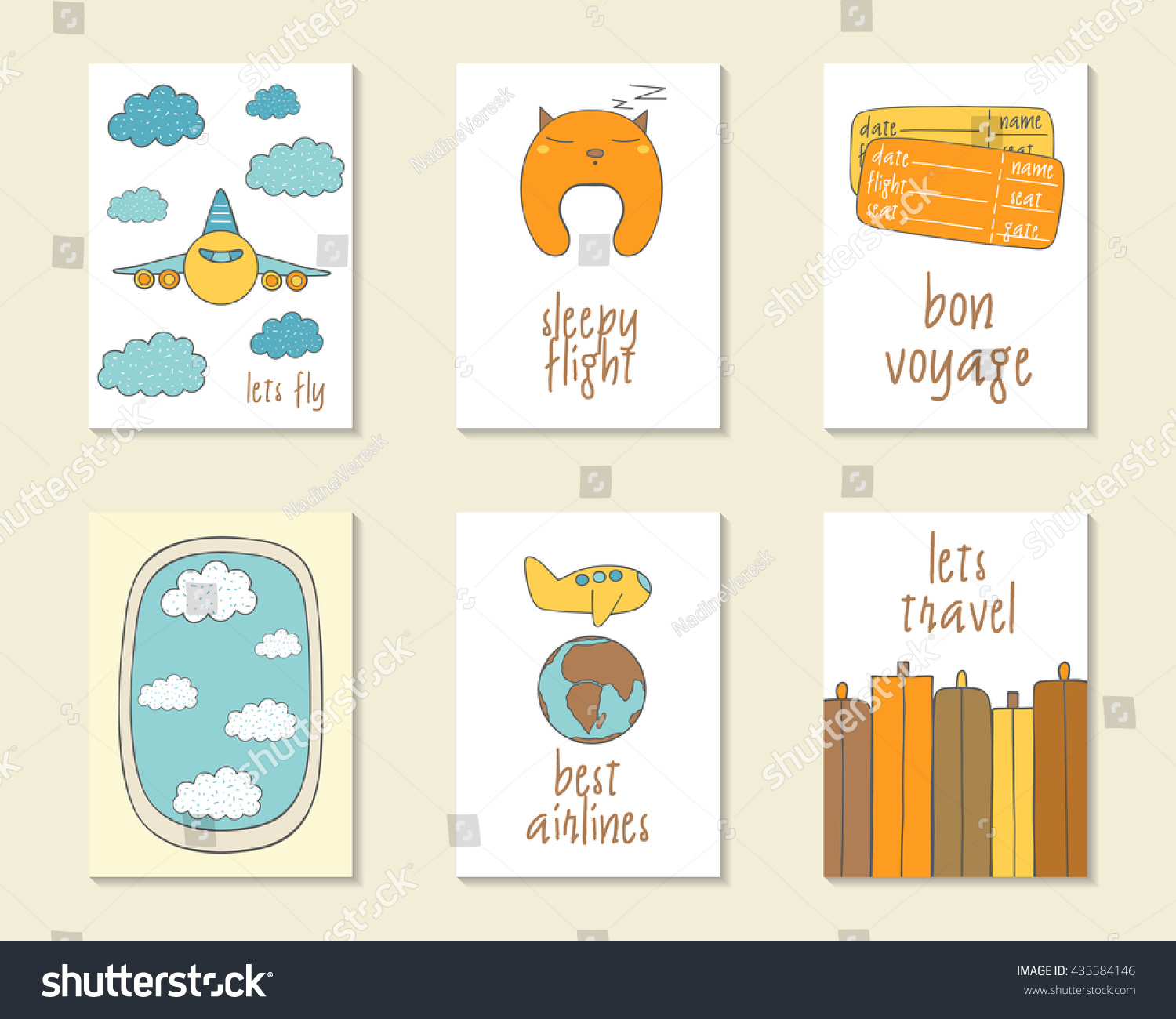 Printable Travel Brochure Template For Kids: Cute Doodle Travel Flight Cards Brochures Stock Vector