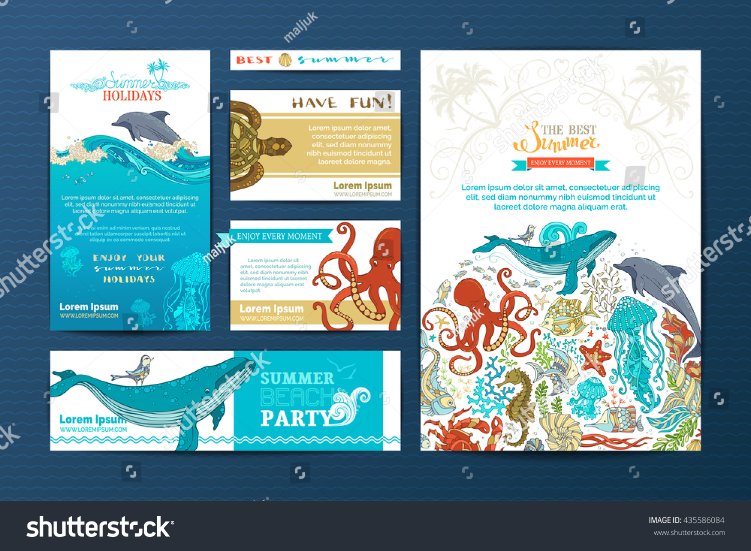 Corporate Underwater Wild Life Templates Vector Stock Vector ...