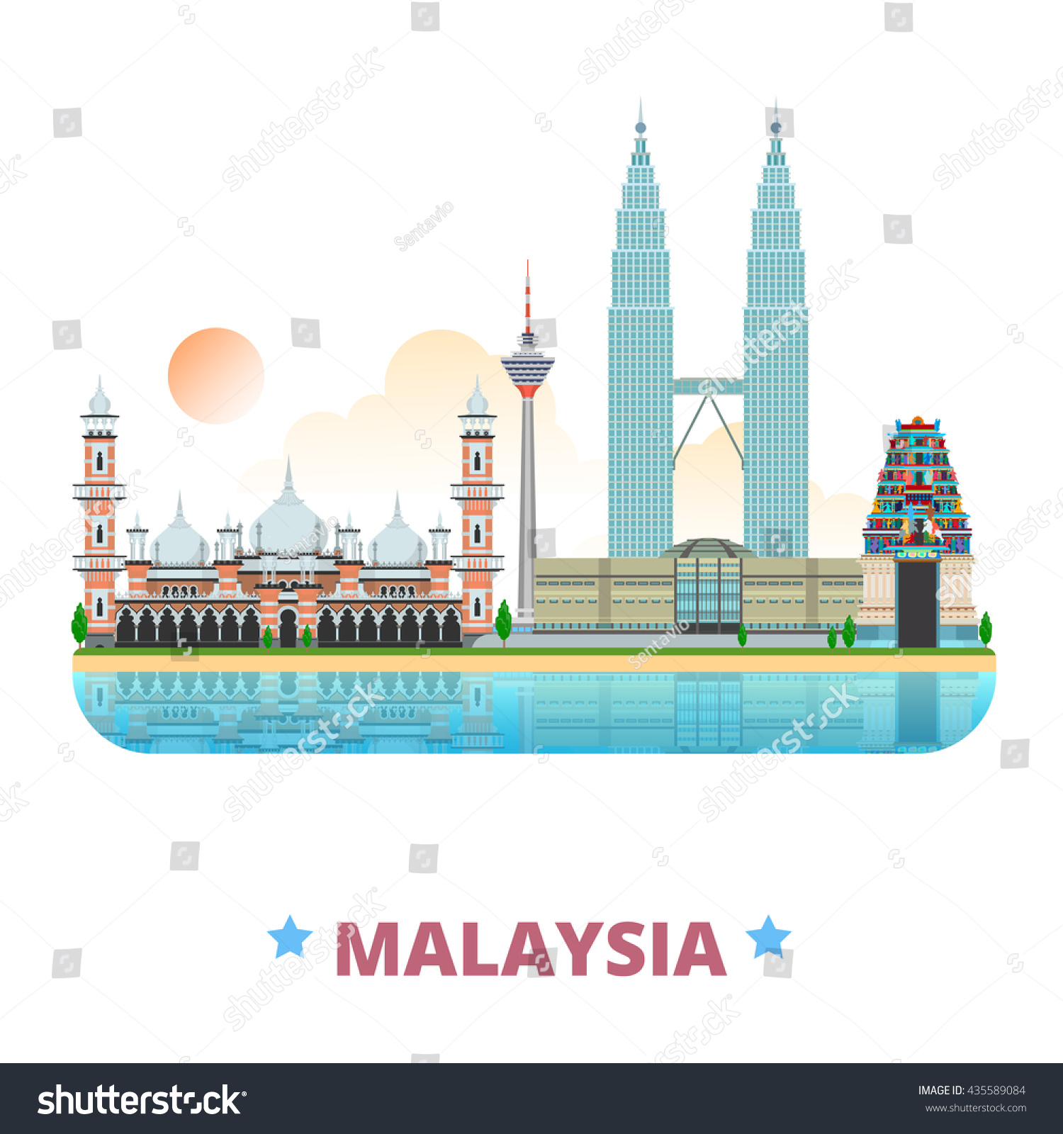 Malaysia Country: Malaysia Country Design Template Flat Cartoon Stock Vector