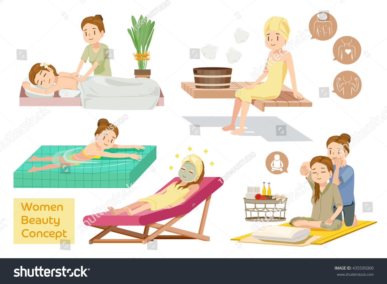 women beauty concept spa courses health stock vector 435595000 shutterstock. Black Bedroom Furniture Sets. Home Design Ideas