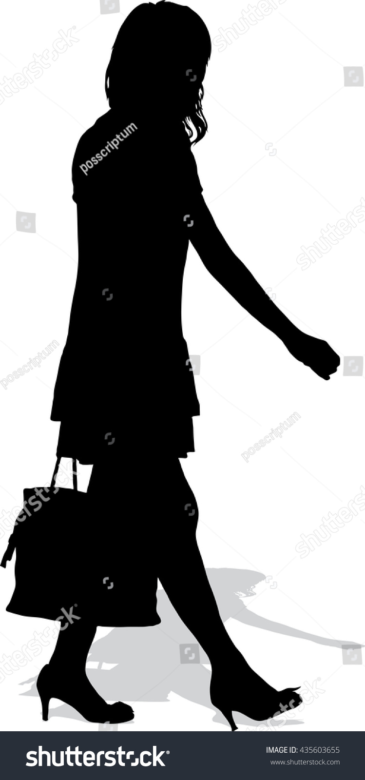Vector Silhouette Walking Woman Handbag Stock Vector ...