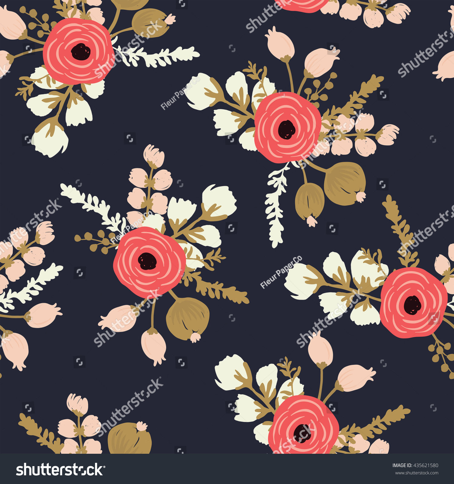 Hand Drawn Rose Seamless Modern Floral Stock Vector Royalty Free