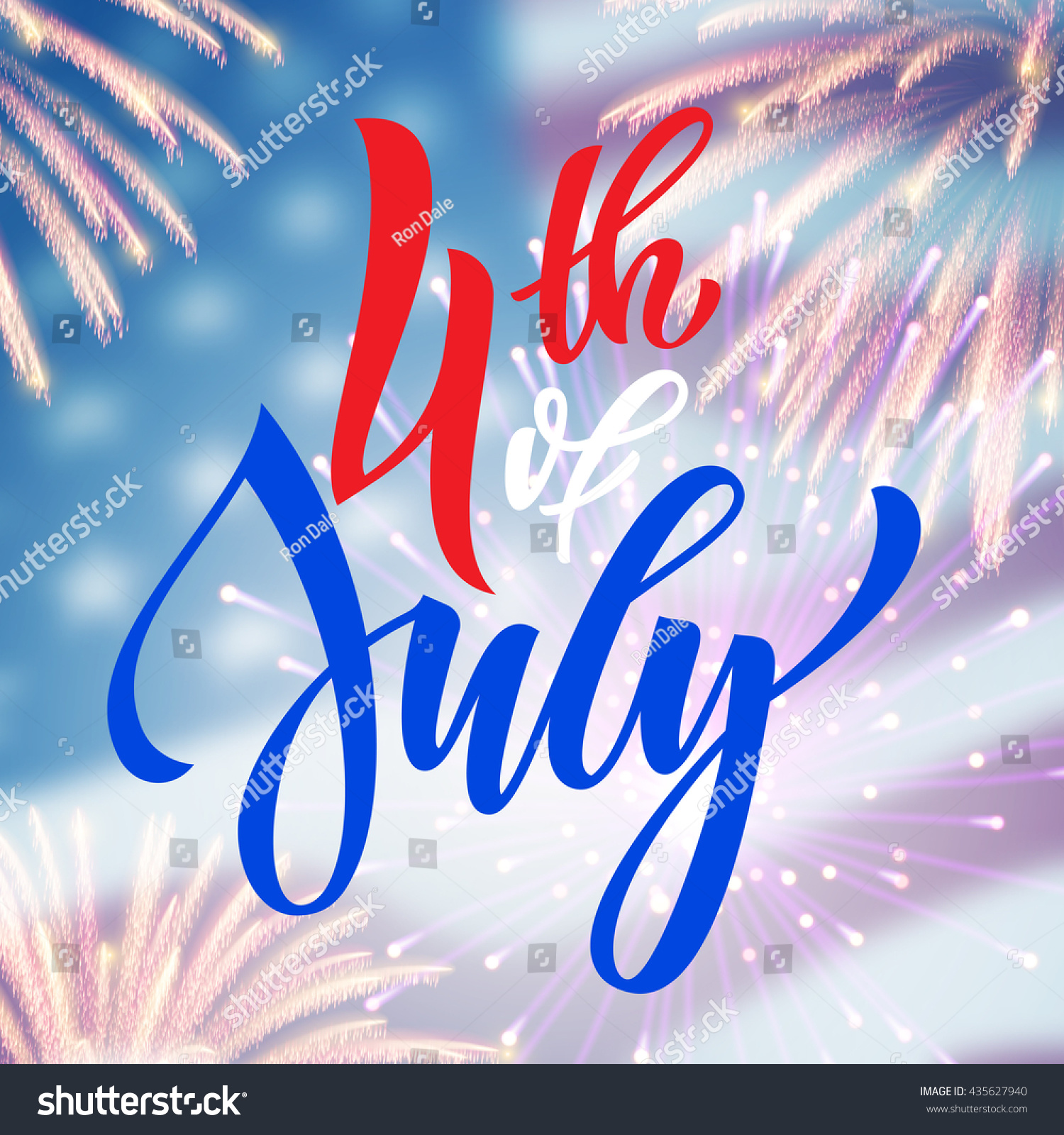 4 July Usa Fireworks Greeting Card Stock Vector 2018 435627940