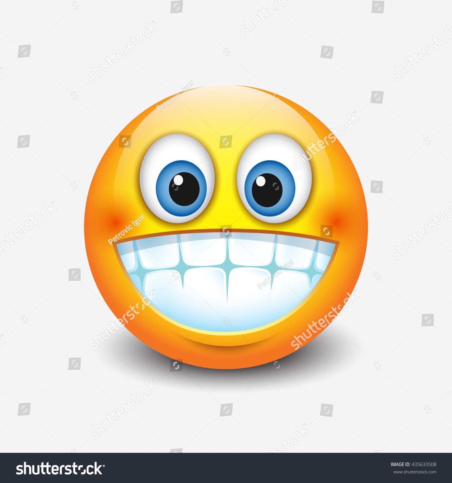 Cute Smiling, Grinning Emoticon Showing Teeth, Emoji ...