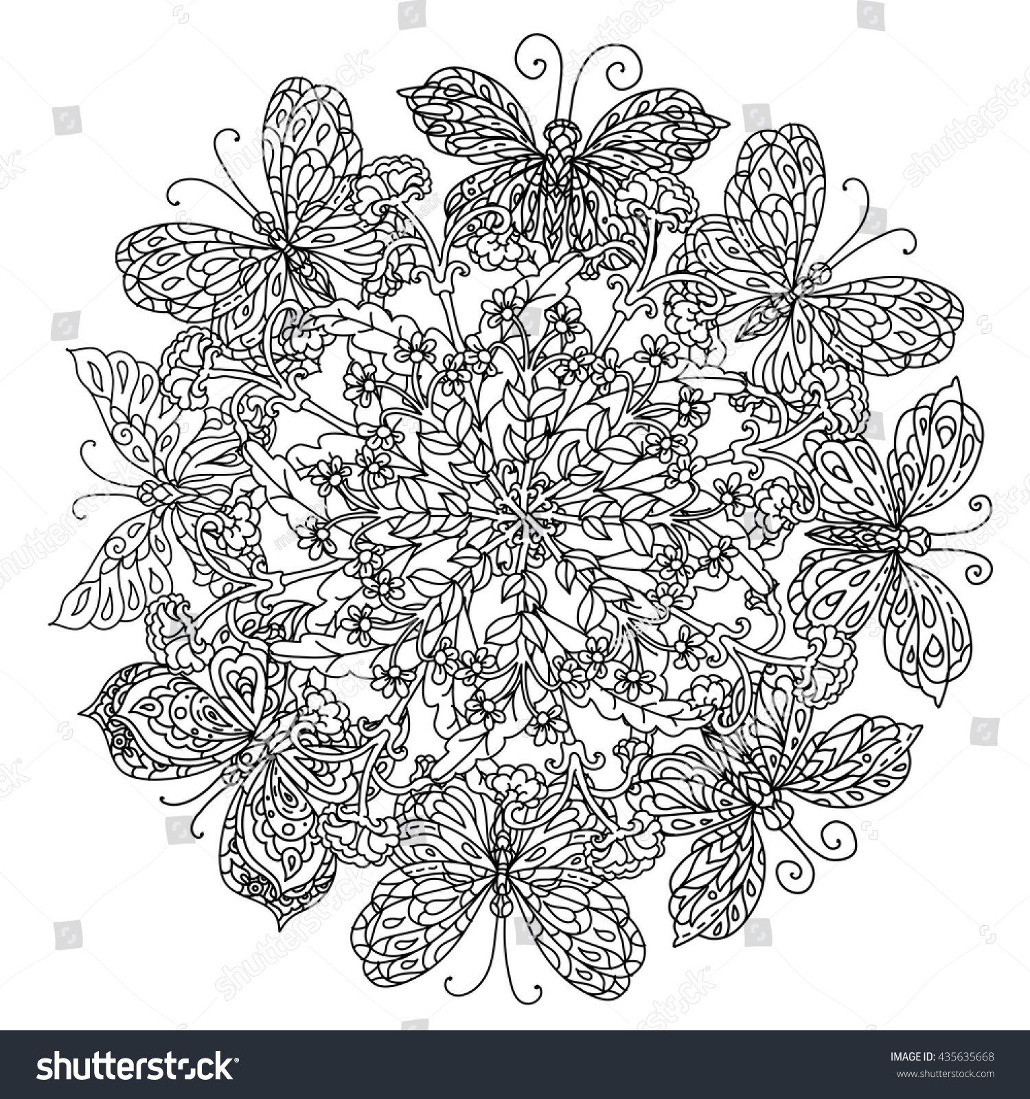 Mandala Shaped Contoured Flowers Leaves Butterfly Stock Vector 435635668
