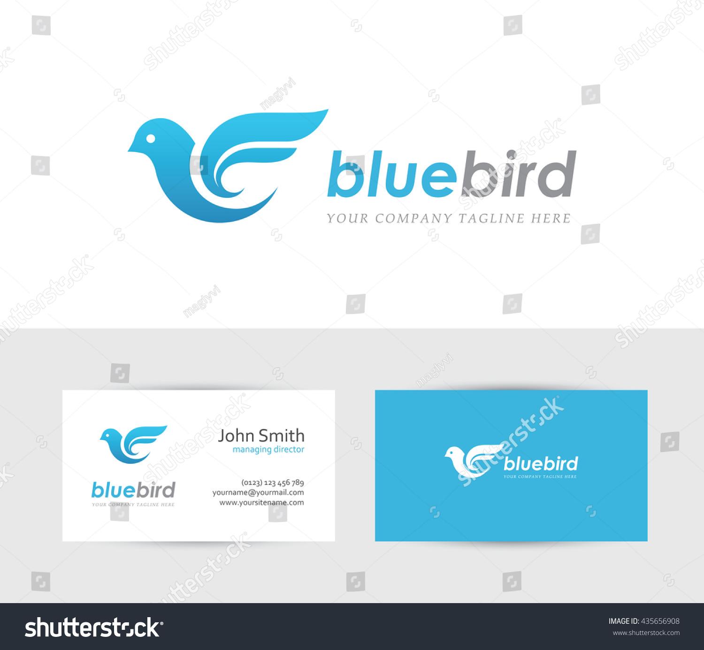 Abstract Blue Bird Icon Business Card Stock Vector