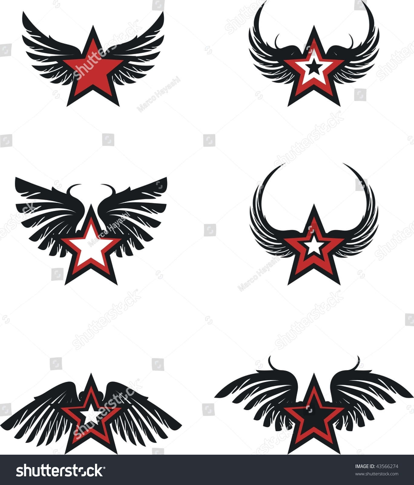 winged star set vector format very stock vector  winged star set in vector format very easy to edit