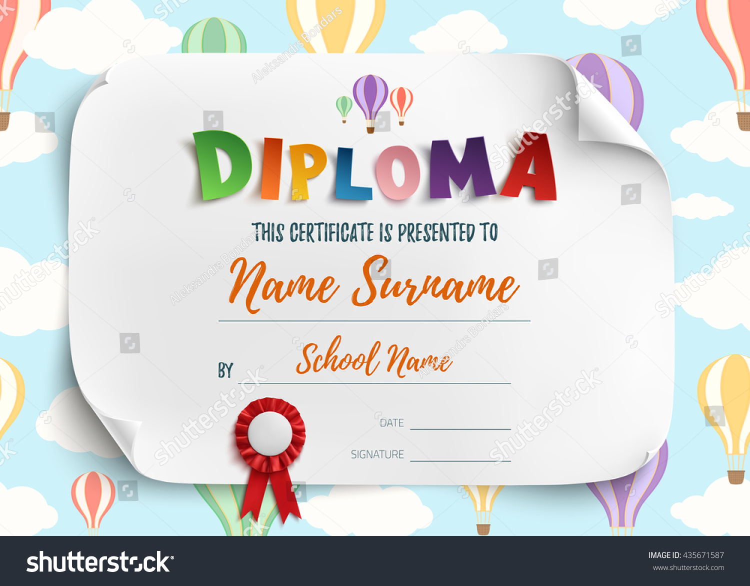 Diploma Template Kids Certificate Background Air Vector de stock ...