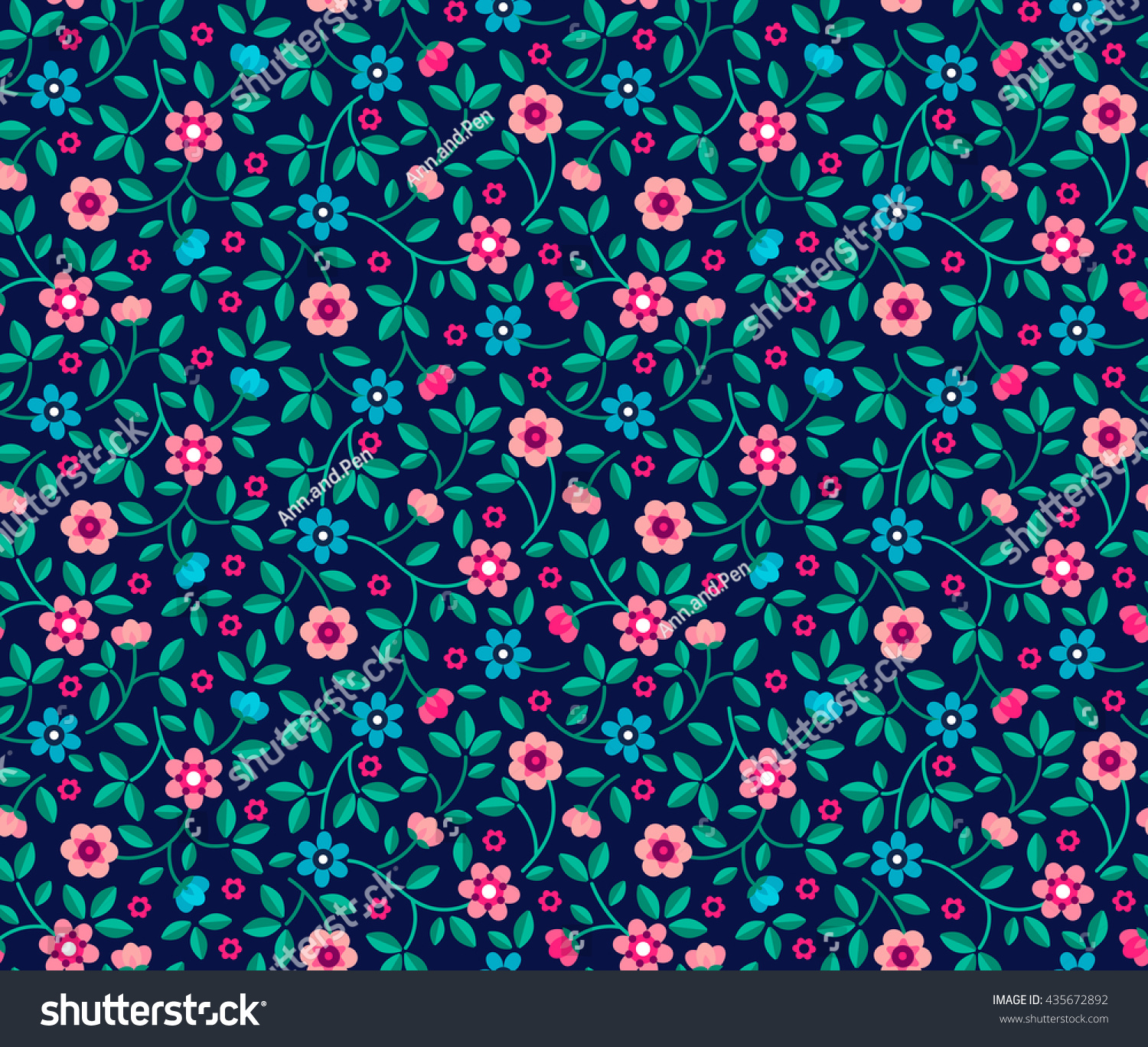 Small Blue Pink Flowers Dark Blue Stock Vector Royalty Free