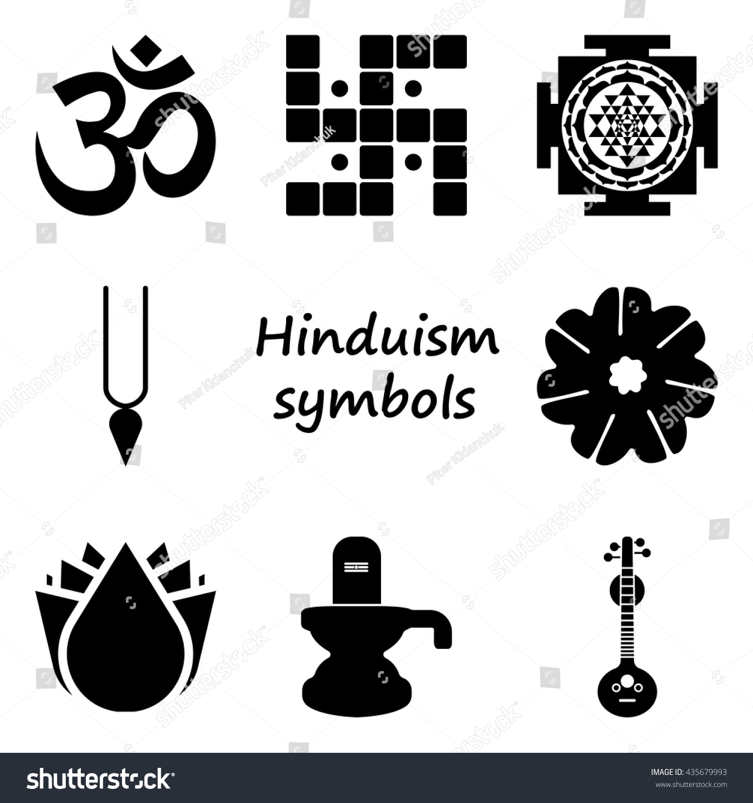 Hinduism Symbol Sign Simple Icon Set Stock Vector Royalty Free