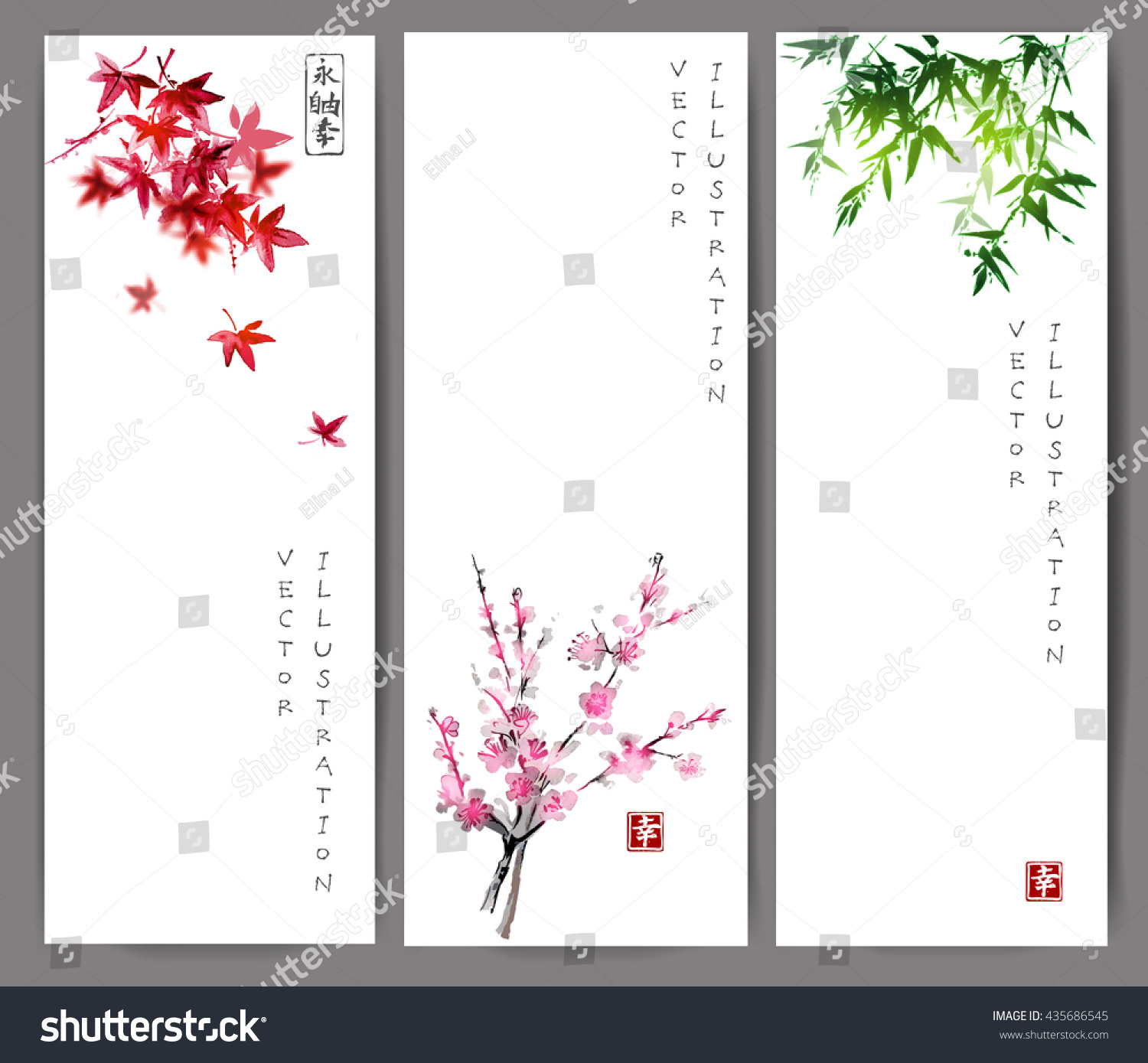 Three banners with maple bamboo and oriental cherry sakura in blossom Traditional Japanese ink painting sumi-e on white background Contains hieroglyph happiness