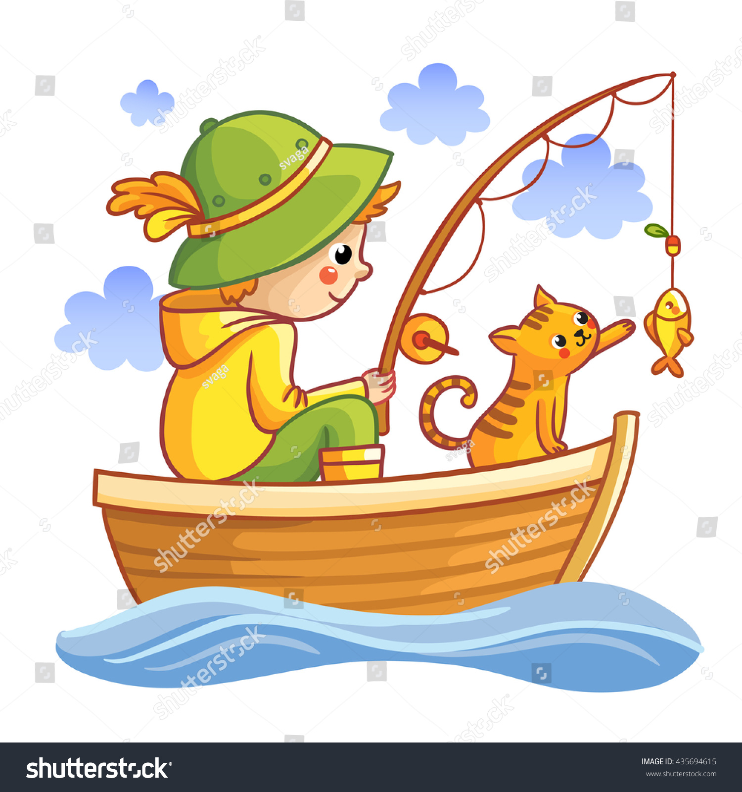 how to draw a fisherman in a boat