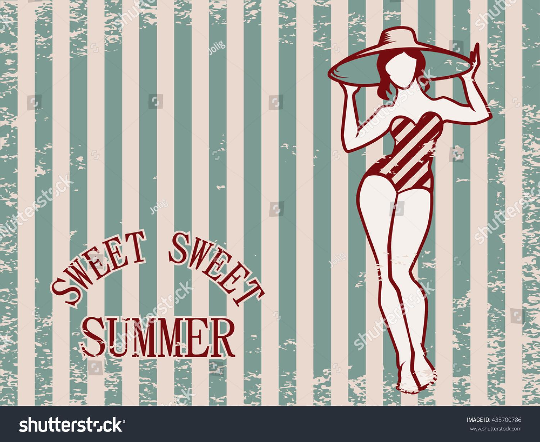 sweet summer vintage greeting postcard template stock vector