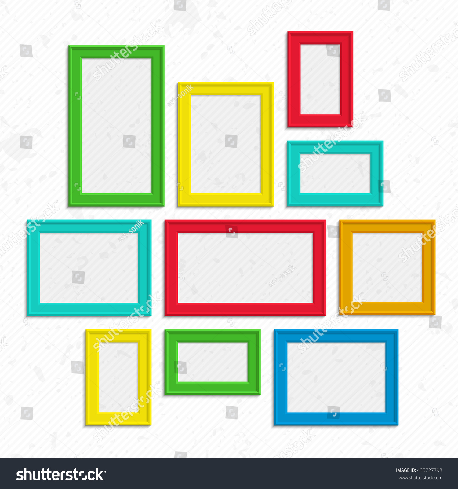 Set Colorful Wooden Frames Wooden Square Stock Vector (2018 ...
