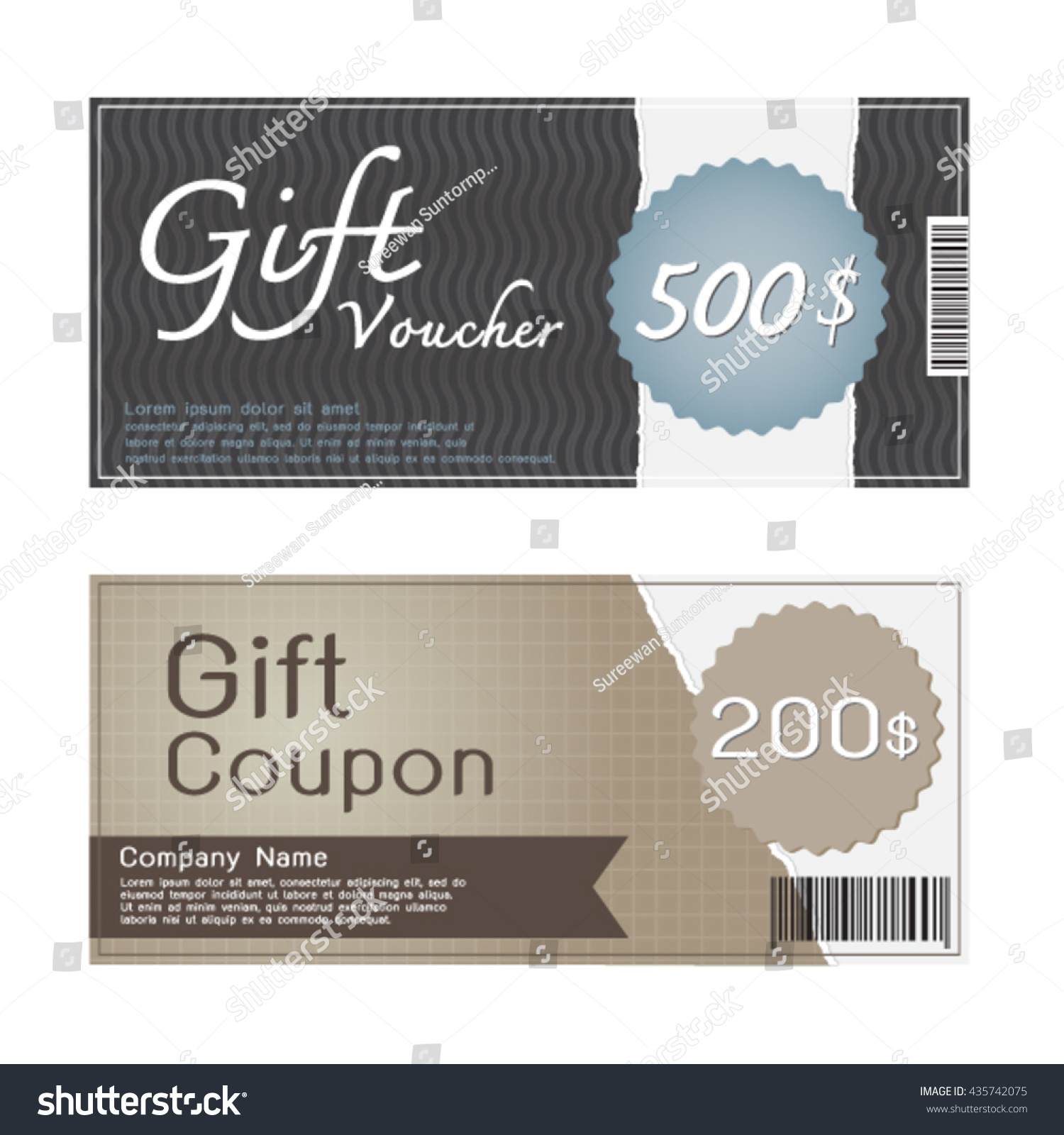 Gift Voucher Coupon Templates Design Stock Vector HD (Royalty Free ...