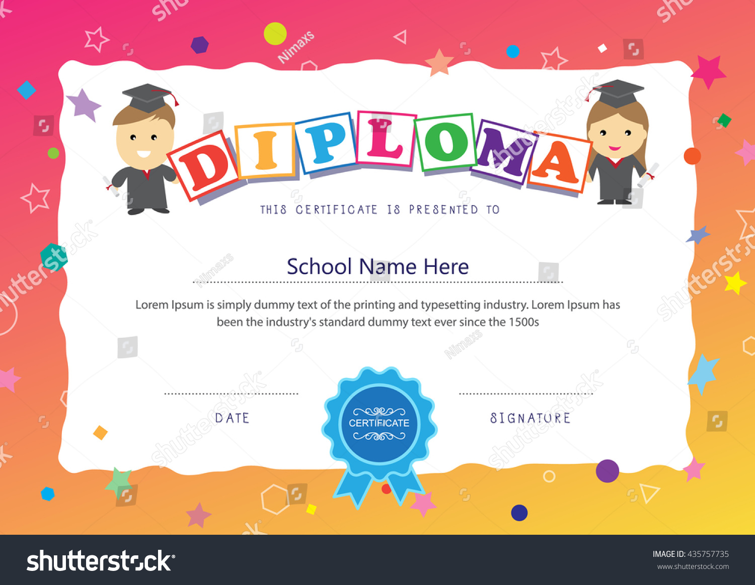Preschool kids certificate design elementary diploma stock vector preschool kids certificate design elementary diploma school background layout template xflitez Images