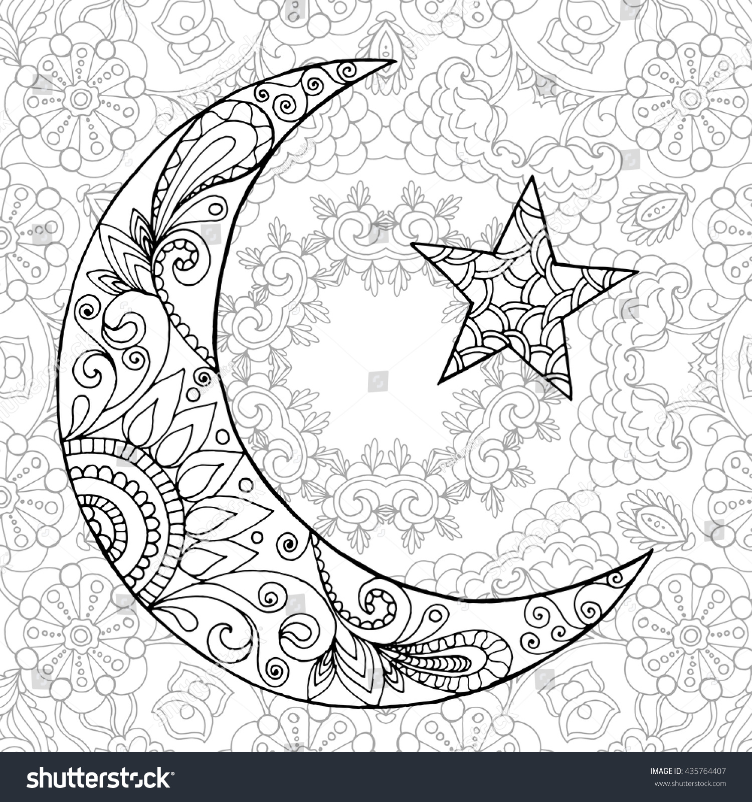 Ramadan kareem half moon greeting design stock for Half moon coloring pages