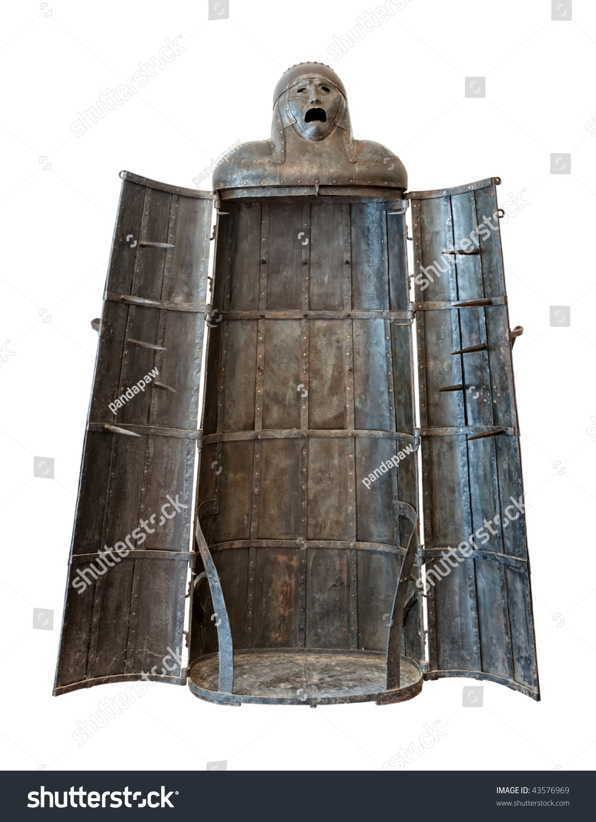 Iron Maiden Medieval Torture Device Isolated Stock Photo
