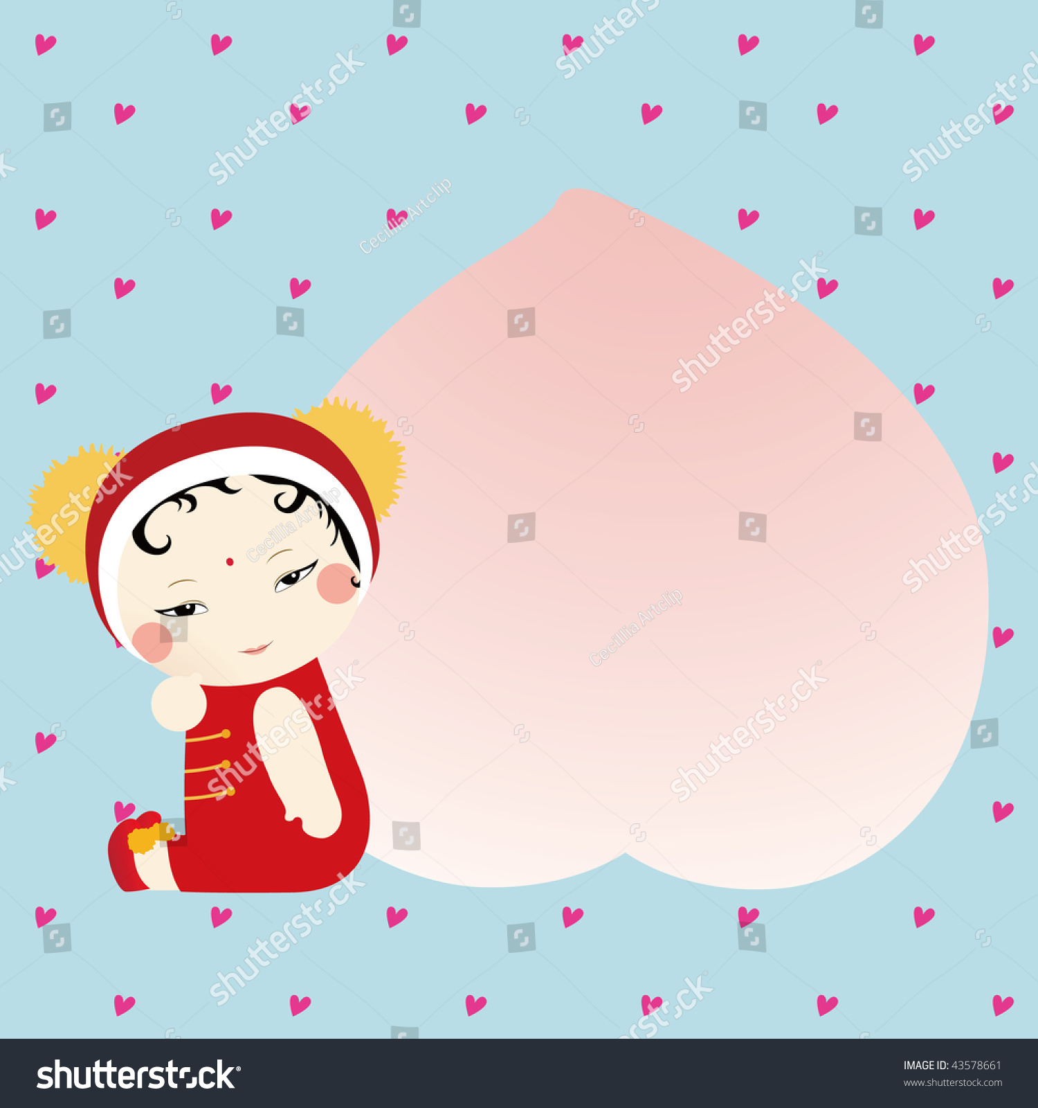 Cute Chinese Doll Peach Means Wishing Stock Vector
