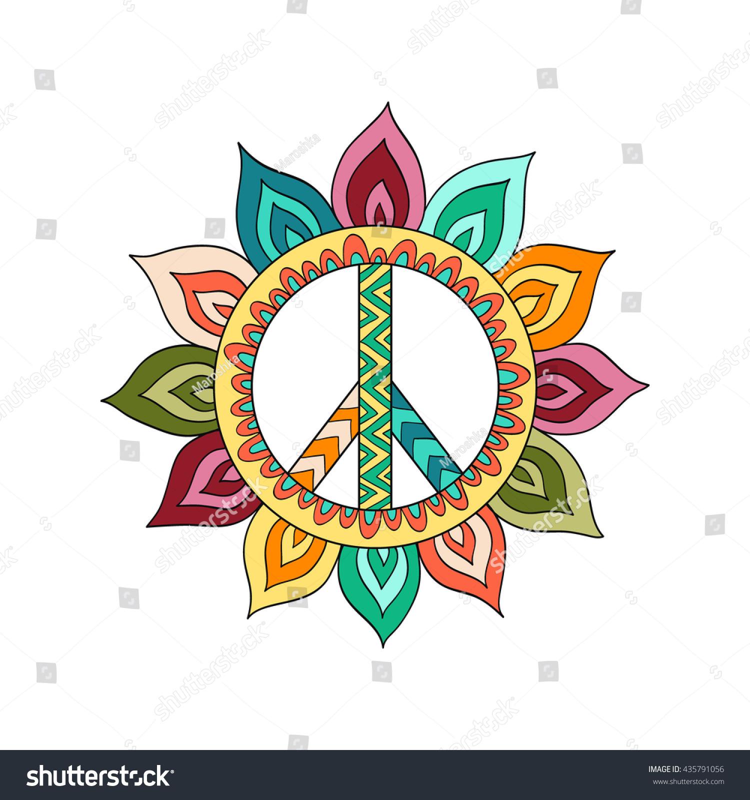 hippie vintage peace symbol zentangle style stock vector 435791056