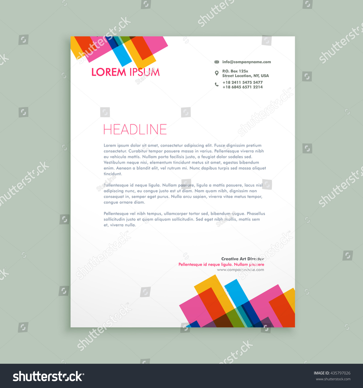 A Creative Corporate Letterhead For Dealing Business With: Creative Colorful Letterhead Design Stock Vector 435797026