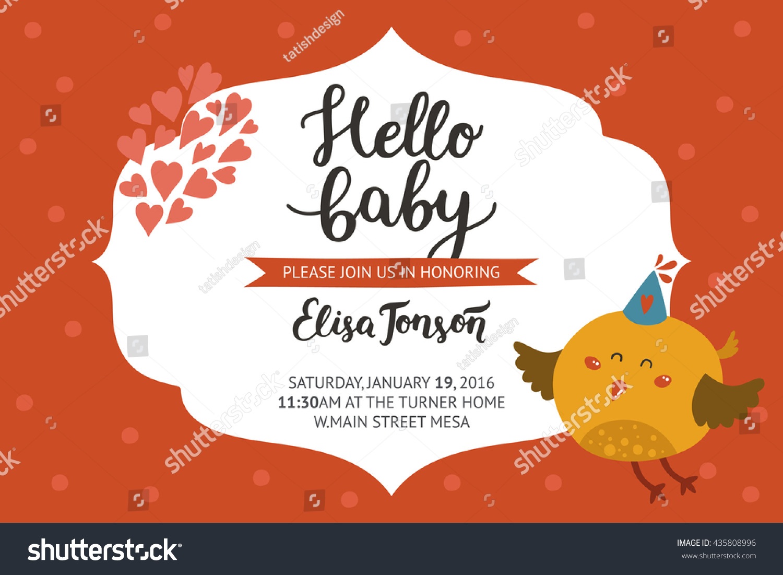 Baby Shower Girl Boy Invitation Vector Stock Vector 435808996 ...