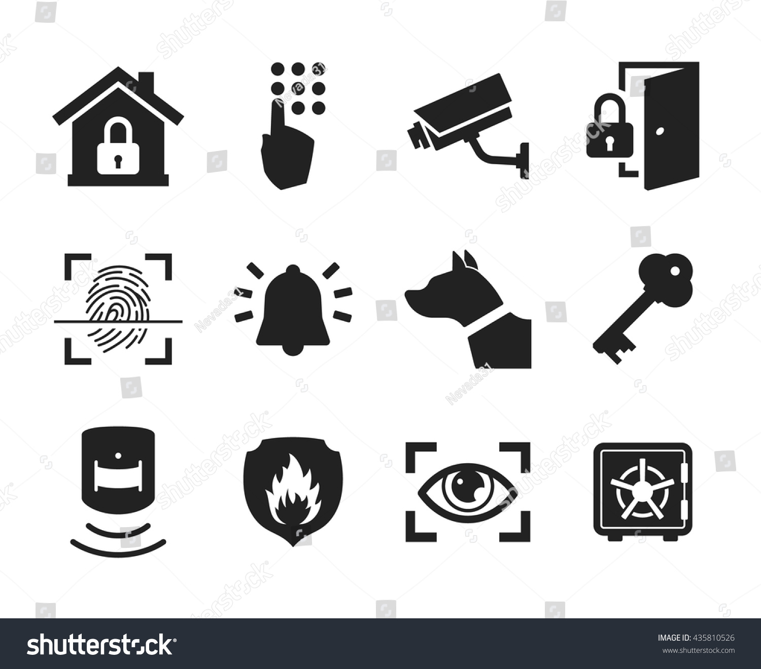 Home Security Icons Set Black White Stock Vector 435810526 ...