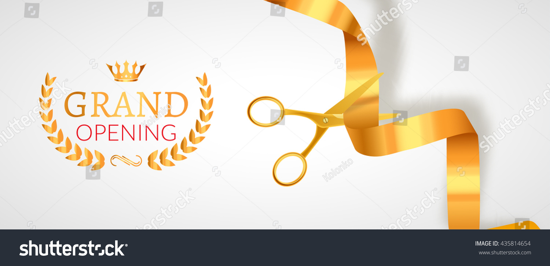 Grand Opening Invitation Banner Golden Ribbon Stock Vector 435814654 - Shutterstock