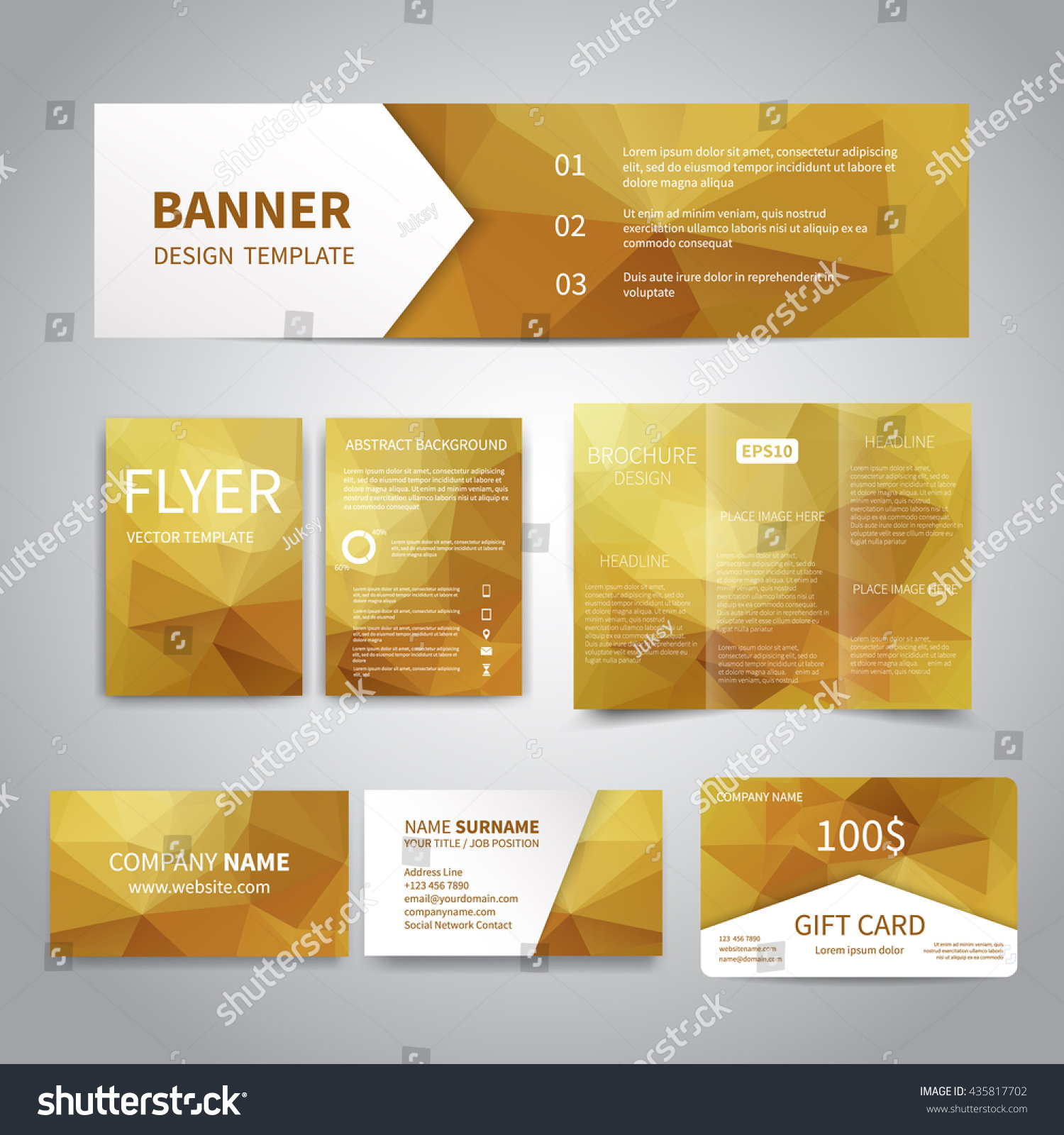 Banner Flyers Brochure Business Cards Gift Stock Vector 435817702 ...