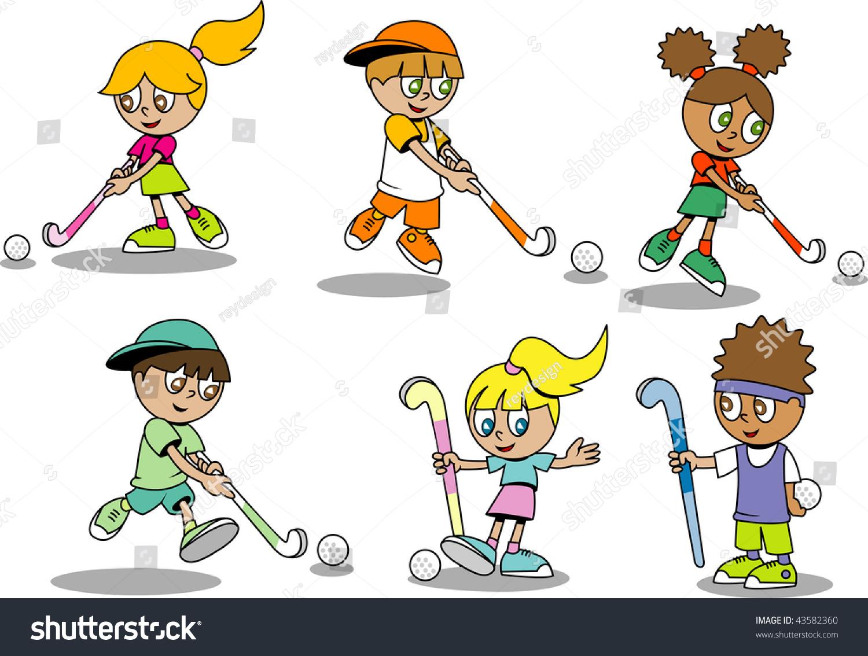 Cute Field Hockey Kids Stock Vector Royalty Free 43582360