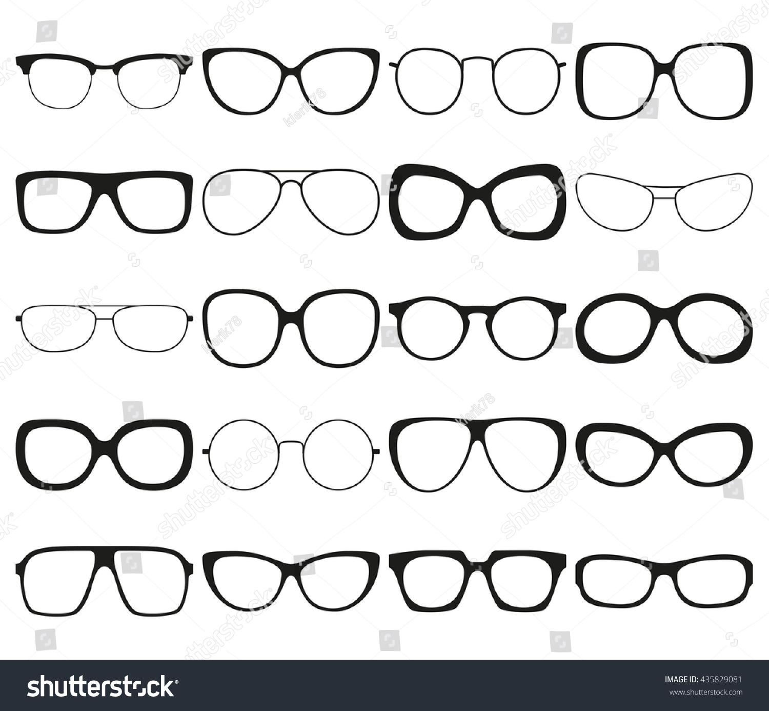 Sunglasses Icon Set Different Spectacle Frames Stock Photo (Photo ...