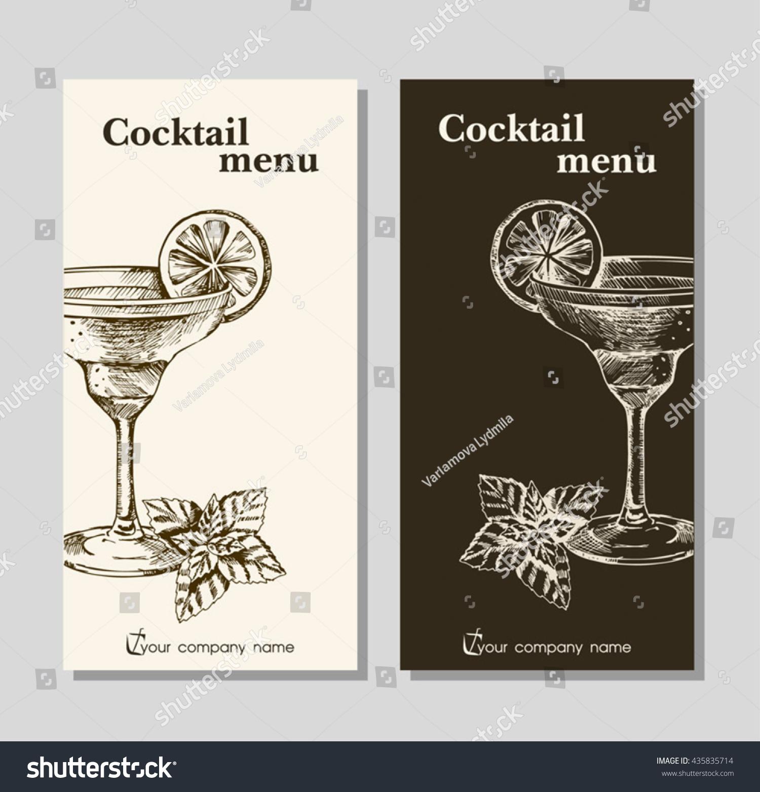 cocktails menu card design template menu stock vector royalty free