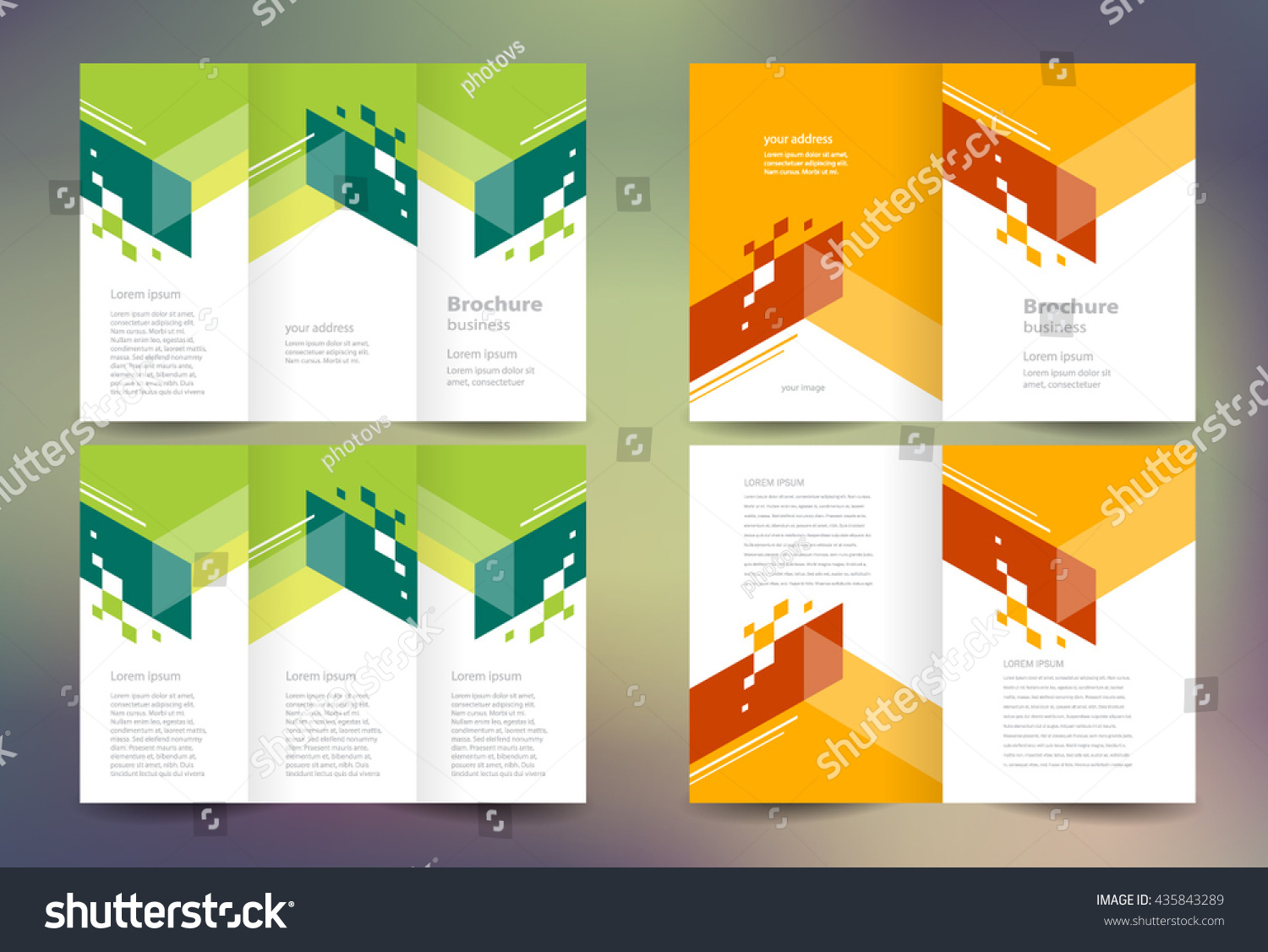 business tri fold brochure templates - business brochure set design template folder stock vector