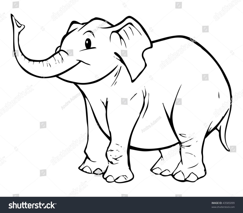 Cartoon Vector Outline Illustration Elephant Stock Vector ...