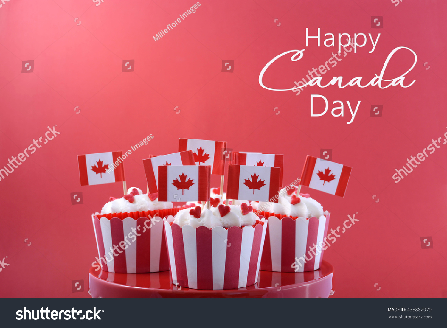happy canada day party cupcakes on stock photo 435882979