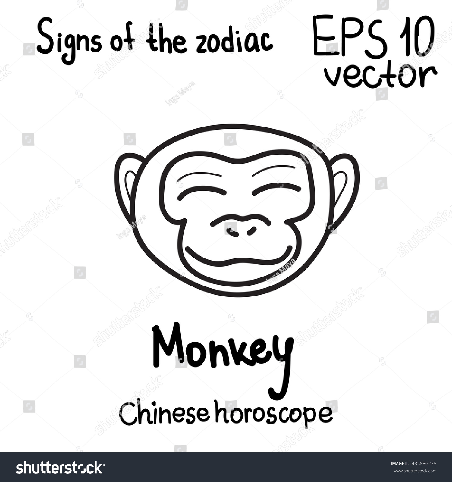 Signs Chinese Horoscope Year Series Happy Stock Vector 435886228