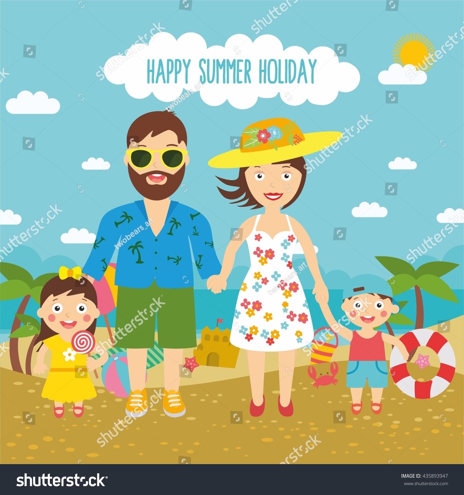 Happy Summer Holidays Cute Cartoon Family On The Beach Father Mother And Child