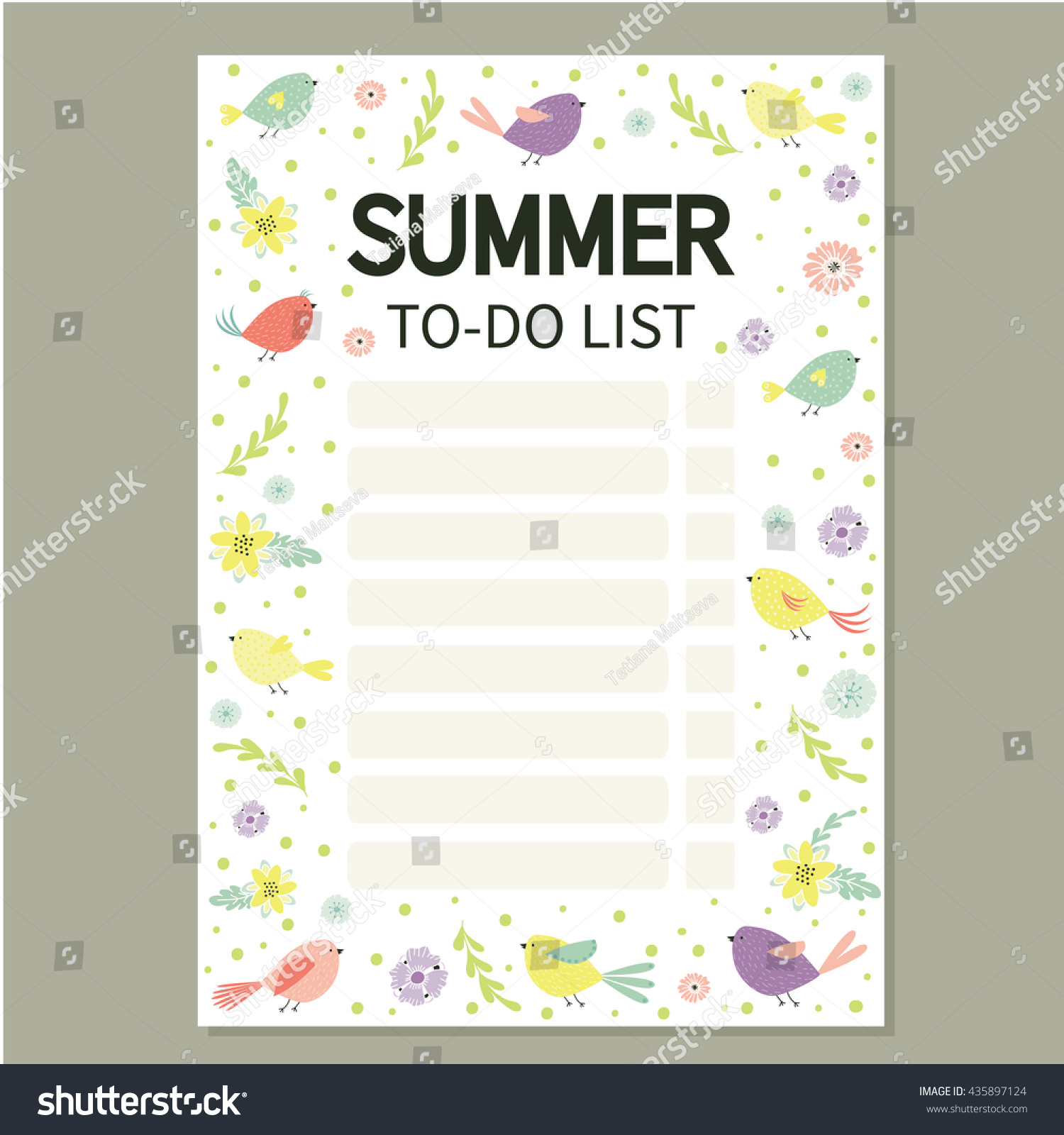 summer do list cute page notes stock vector royalty free 435897124
