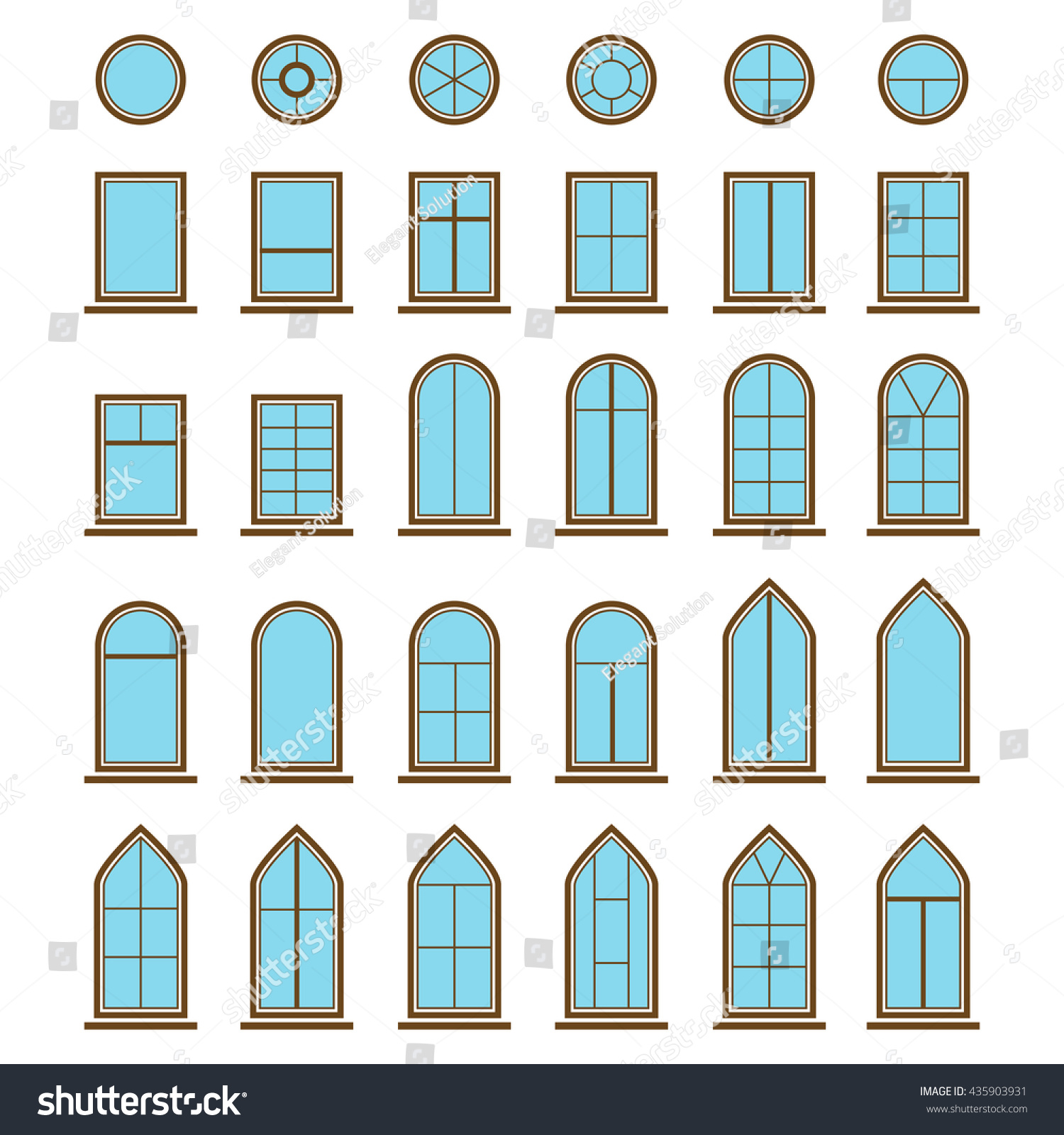 Set Different Icons Window Windowpane Pane Stock Vector