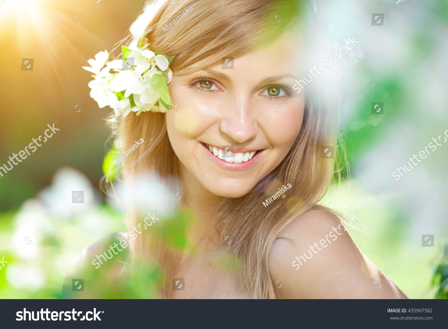 Young woman beautiful smile healthy teeth stock photo 435907582 young woman with a beautiful smile with healthy teeth with flowers face of a beautiful dhlflorist Gallery