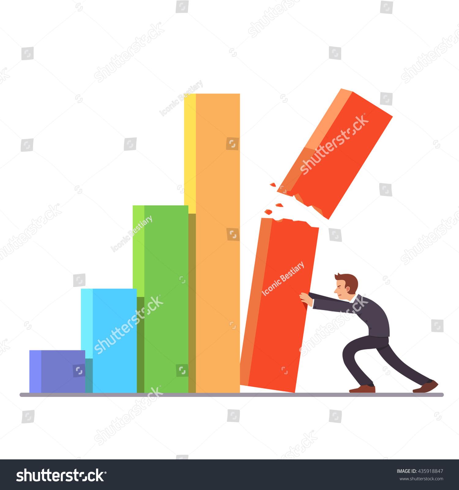 Failing Growth Crisis Concept Businessman Trying Stock-Vektorgrafik ...