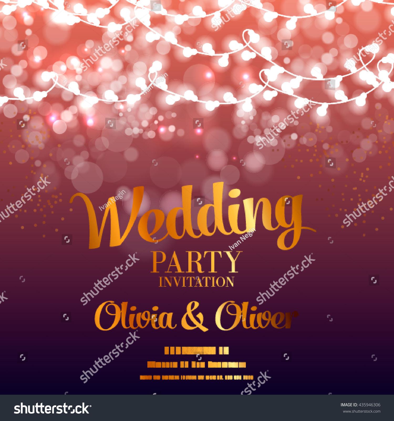 Wedding Invitation Glowing Light Garden Party Stock Vector HD ...